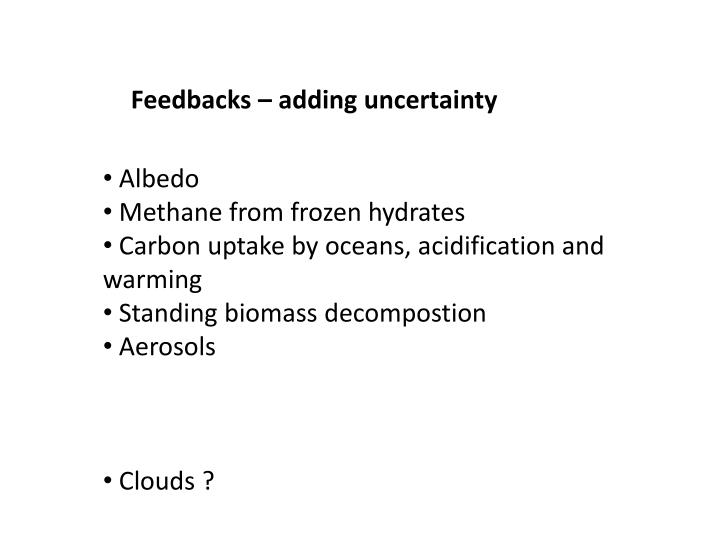 Feedbacks – adding uncertainty