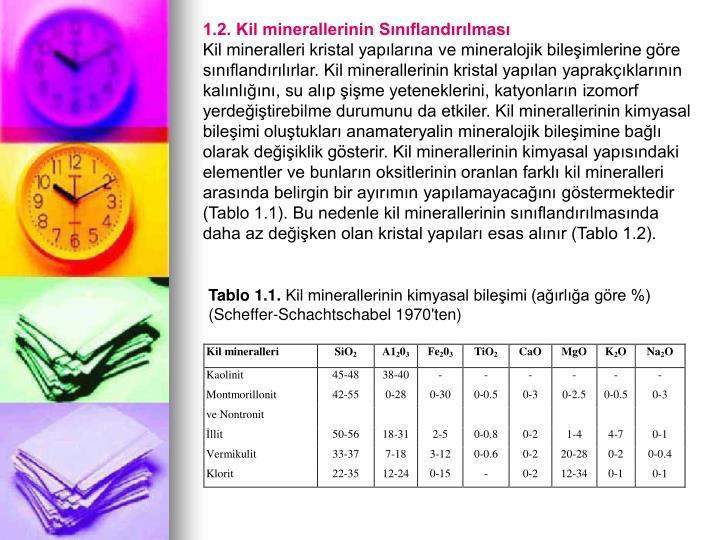 1.2. Kil minerallerinin Sınıflandırılması