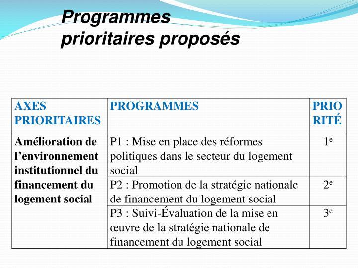 Programmes prioritaires proposés