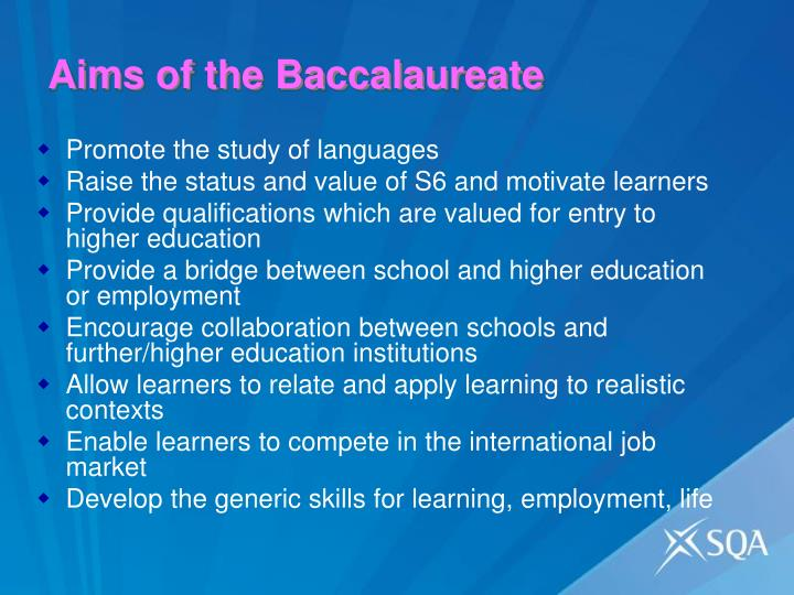 Aims of the baccalaureate