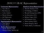 2010 11 sbac representatives
