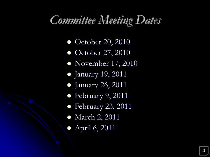 Committee Meeting Dates