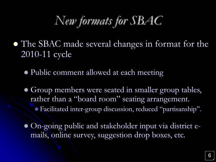 New formats for SBAC