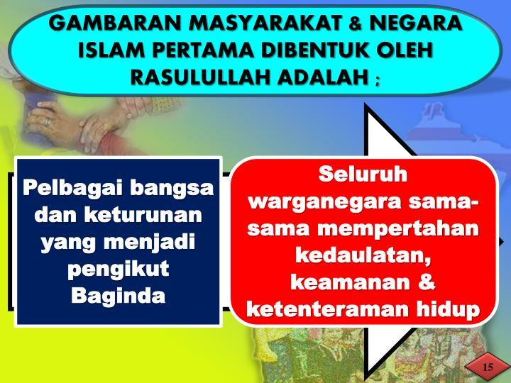 GAMBARAN MASYARAKAT & NEGARA ISLAM PERTAMA DIBENTUK OLEH RASULULLAH