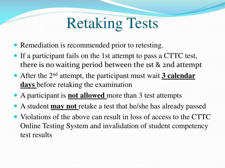 Retaking Tests