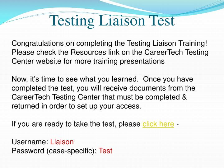 Testing Liaison Test