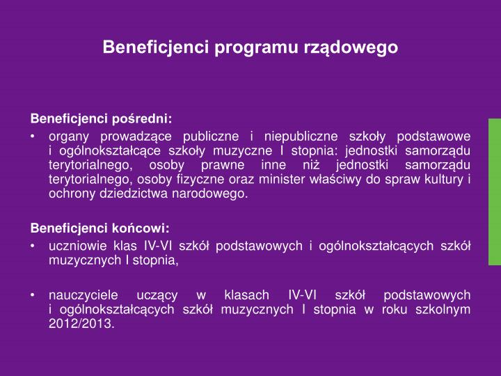 Beneficjenci programu rządowego