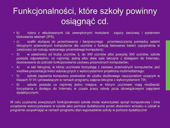 Funkcjonalności, które szkoły powinny osiągnąć cd.
