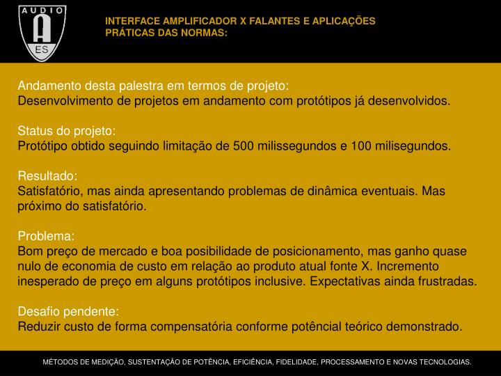 INTERFACE AMPLIFICADOR X FALANTES E APLICAÇÕES