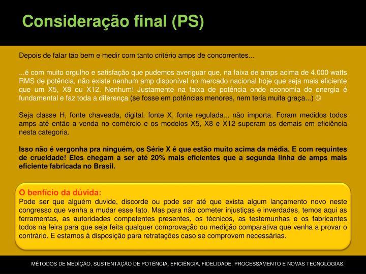 Consideração final (PS)