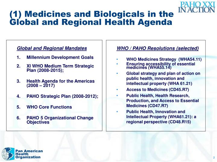 (1) Medicines and Biologicals in the Global and Regional Health Agenda