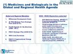 1 medicines and biologicals in the global and regional health agenda