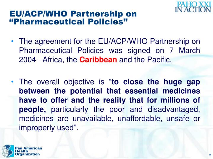"EU/ACP/WHO Partnership on ""Pharmaceutical Policies"""