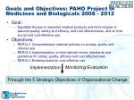 goals and objectives paho project in medicines and biologicals 2008 2012