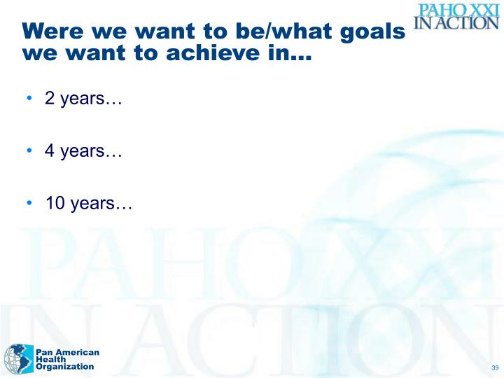 Were we want to be/what goals we want to achieve in…