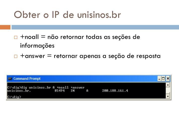 Obter o IP de unisinos.br