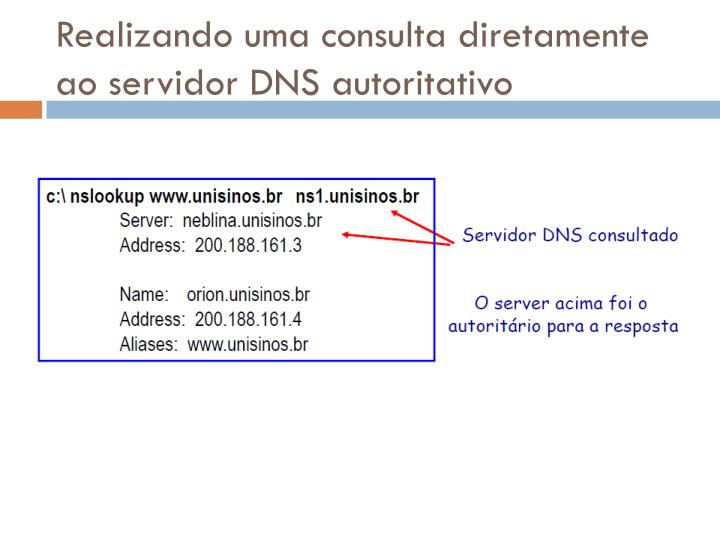 Realizando uma consulta diretamente ao servidor DNS