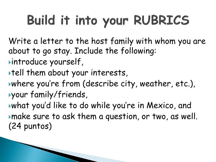 Build it into your RUBRICS