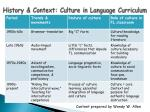 history context culture in language curriculum