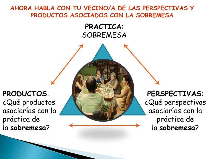 AHORA HABLA CON TU VECINO/A DE LAS PERSPECTIVAS Y PRODUCTOS ASOCIADOS CON LA SOBREMESA