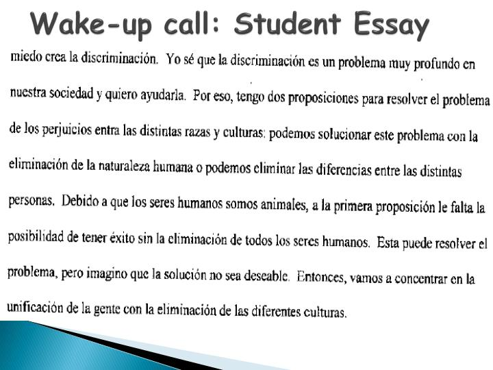 Wake-up call: Student Essay