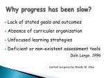 why progress has been slow