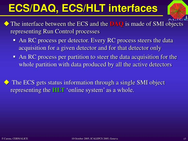 ECS/DAQ, ECS/HLT interfaces