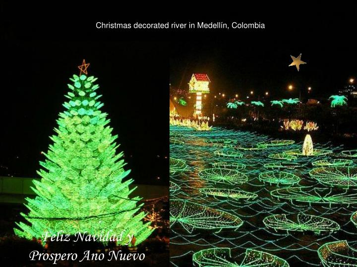 Christmas decorated river in Medellín, Colombia