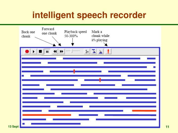 intelligent speech recorder