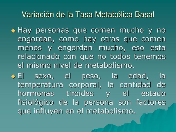 Variación de la Tasa Metabólica Basal
