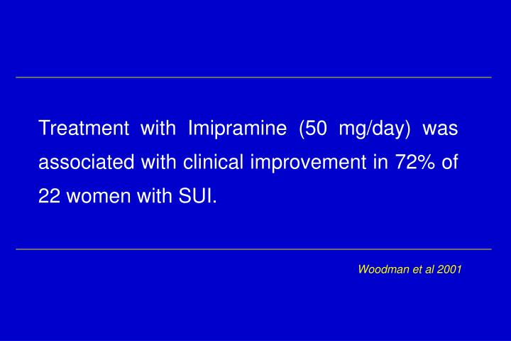 Treatment with Imipramine (50 mg/day) was associated with clinical improvement in 72% of 22 women with SUI.