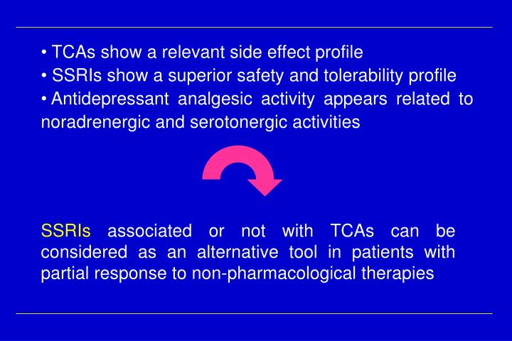 TCAs show a relevant side effect profile