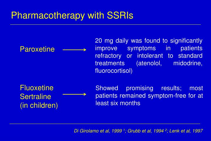 Pharmacotherapy with SSRIs