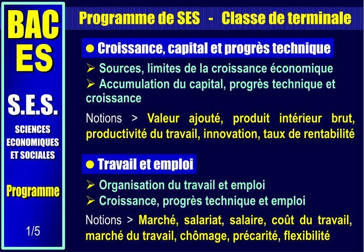 Programme de SES   -   Classe de terminale