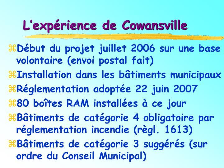 L'expérience de Cowansville