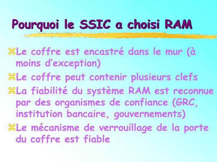 Pourquoi le SSIC a choisi RAM