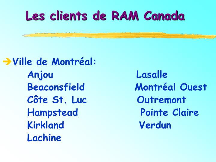 Les clients de RAM Canada