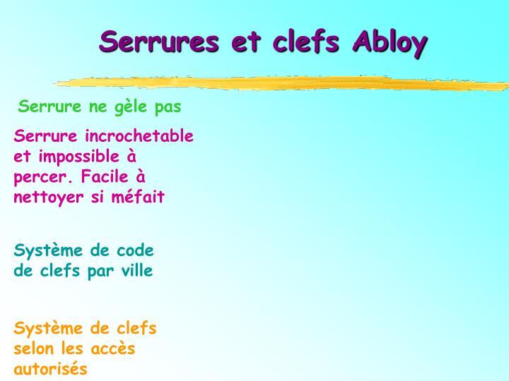 Serrures et clefs Abloy
