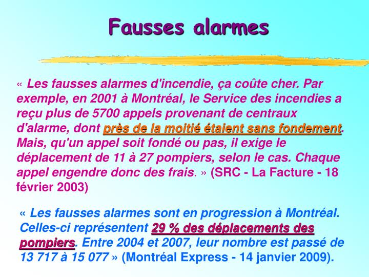 Fausses alarmes