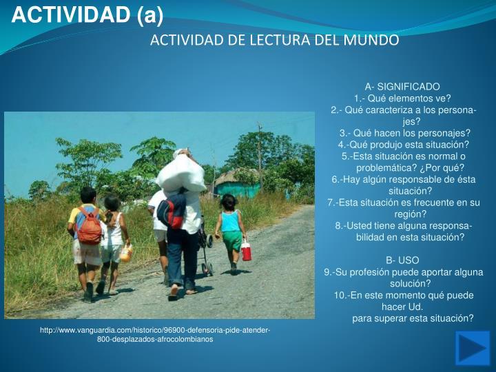 ACTIVIDAD (a)