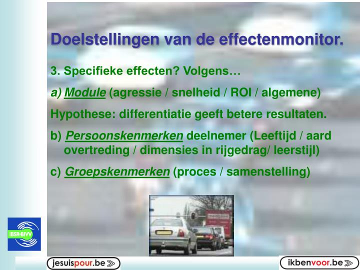 Doelstellingen van de effectenmonitor.