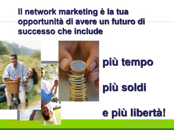 Il network marketing è la tua opportunità di avere un futuro di successo che include