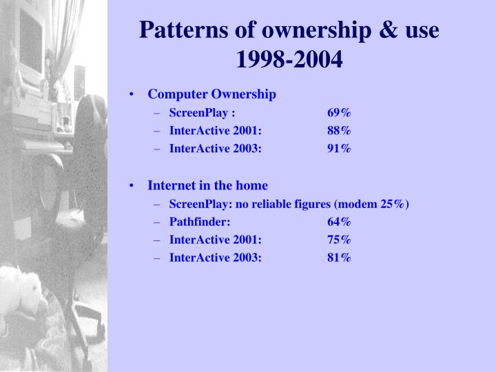 Patterns of ownership & use 1998-2004