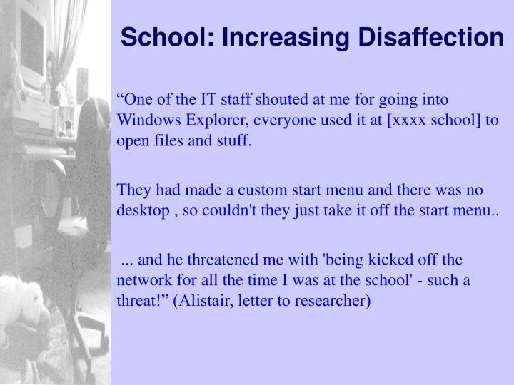 School: Increasing Disaffection