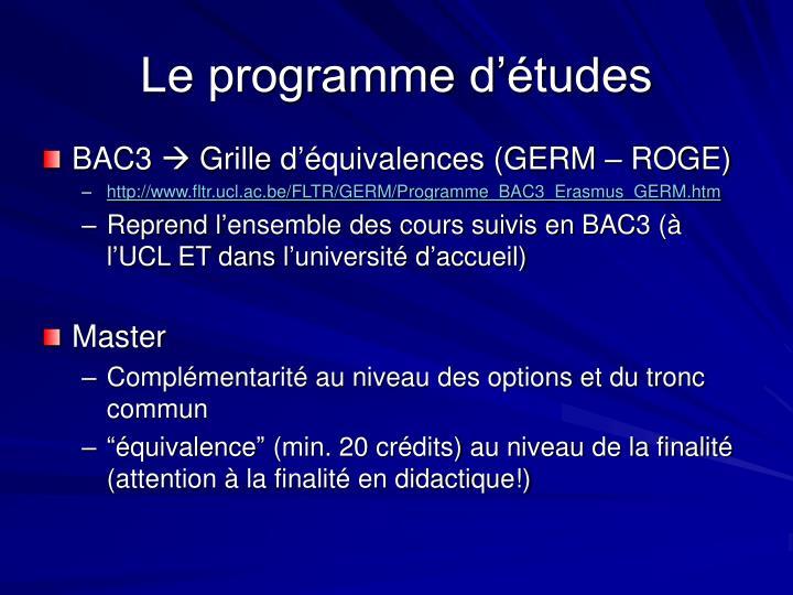 Le programme d'études