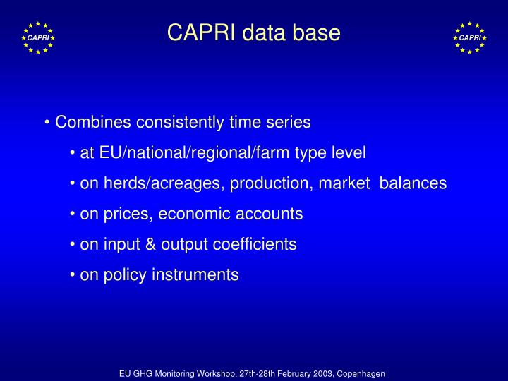 CAPRI data base