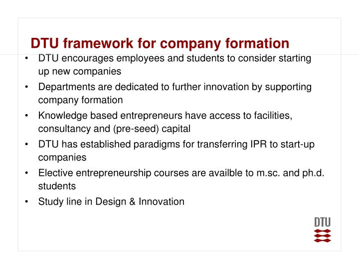 DTU framework for company formation