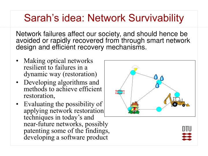 Sarah's idea: Network Survivability