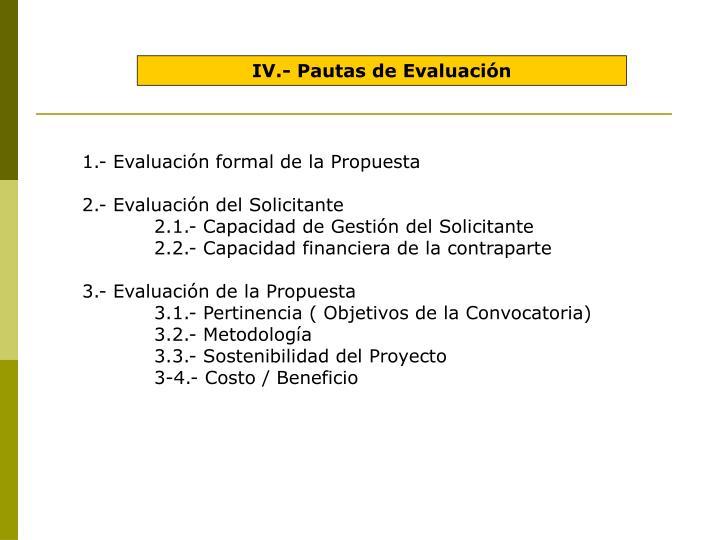 IV.- Pautas de Evaluación