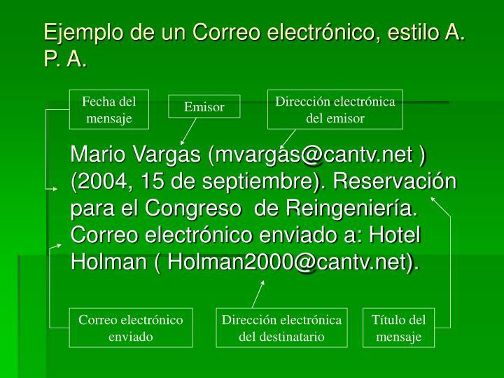 Ejemplo de un Correo electrónico, estilo A. P. A.